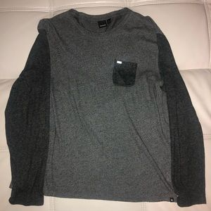 Mens L HURLEY heather grey long sleeve